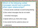 which of the following verbal messages would have a positive effect upon relationships
