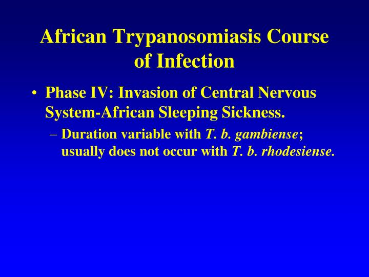 African Trypanosomiasis Course of Infection