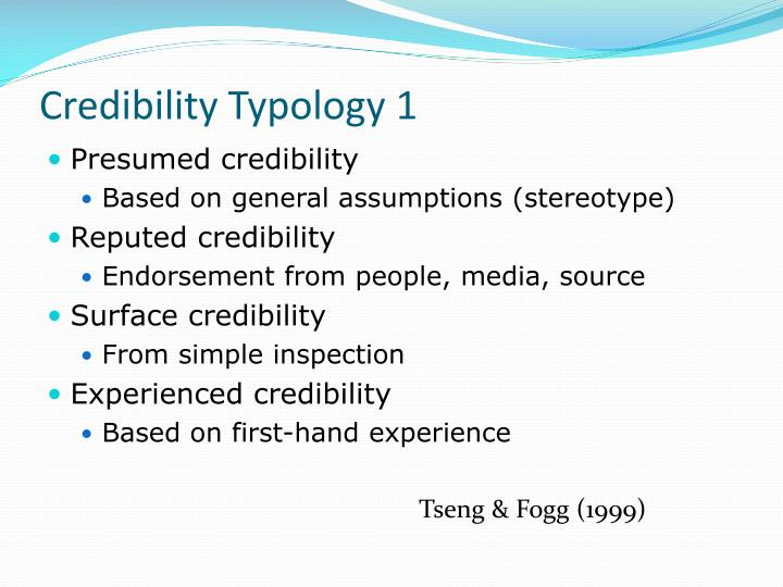 Credibility Typology 1