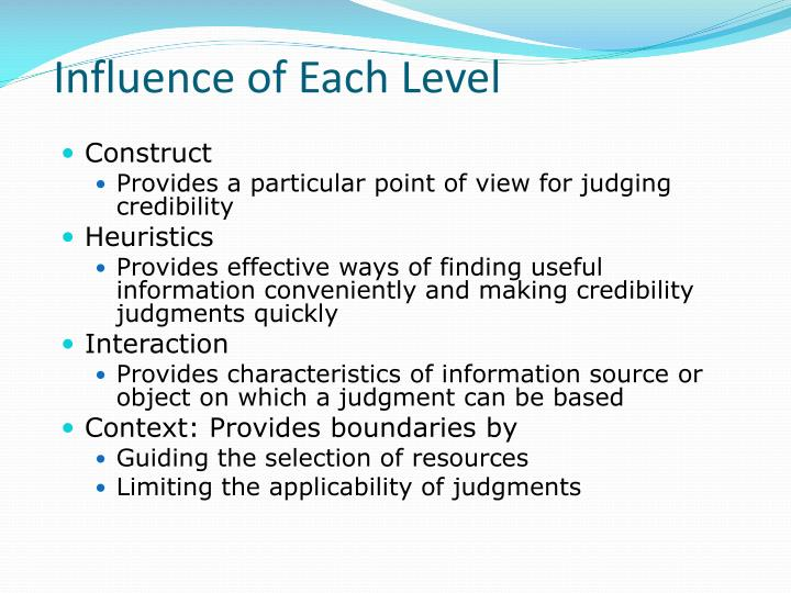 Influence of Each Level