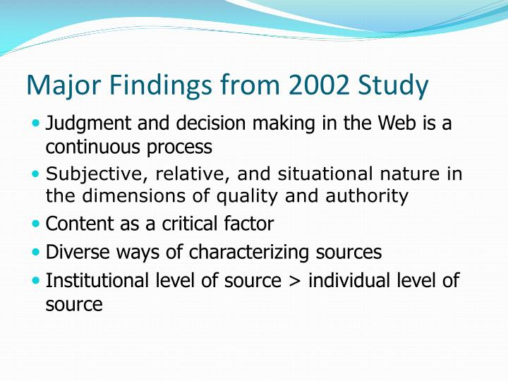 Major Findings from 2002 Study
