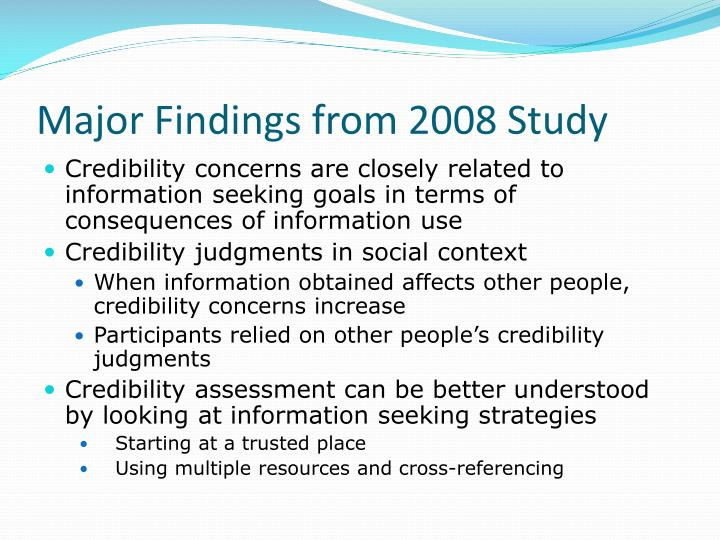 Major Findings from 2008 Study