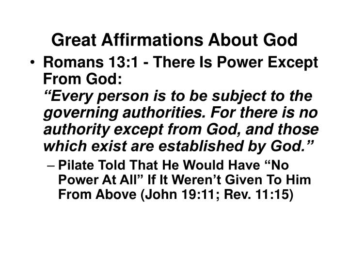 Great Affirmations About God