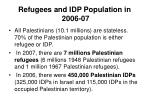 refugees and idp population in 2006 07