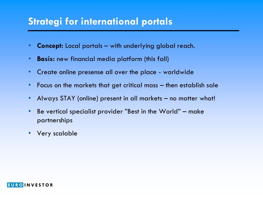 Strategi for international portals
