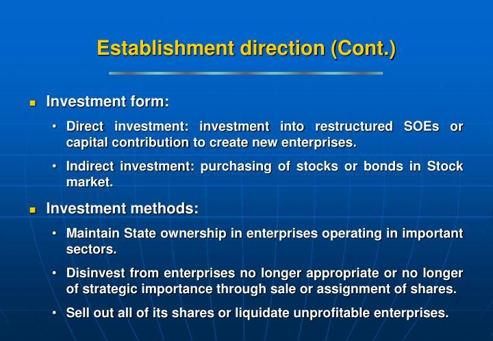 Establishment direction (Cont.)