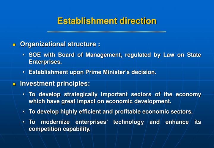 Establishment direction