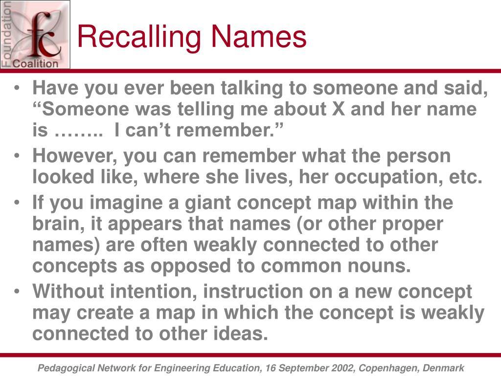 Recalling Names
