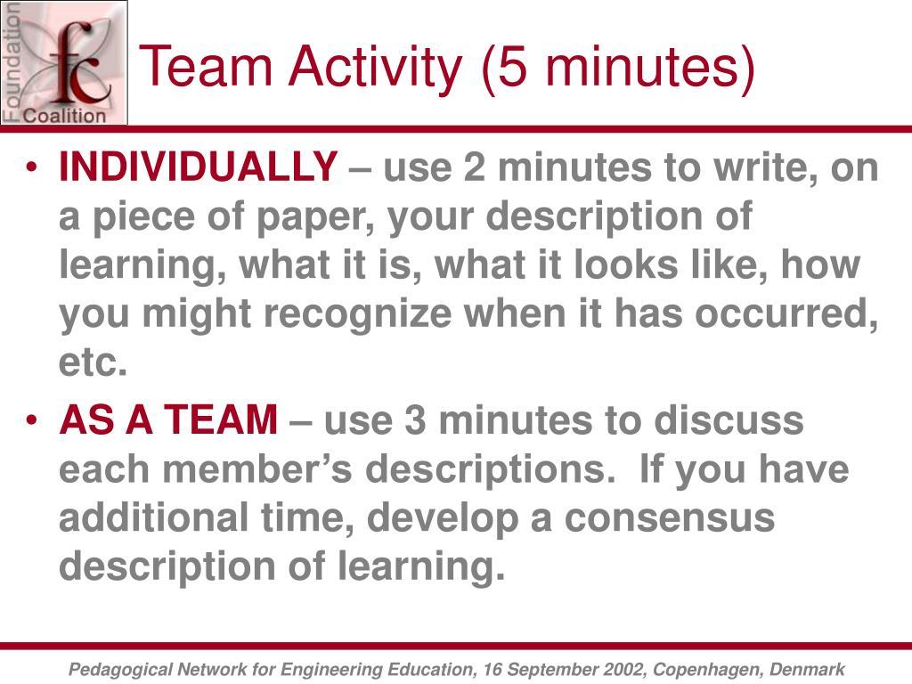 Team Activity (5 minutes)