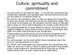 culture spirituality and commitment