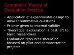 campbell s theory of evaluation practice