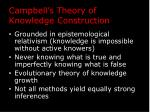 campbell s theory of knowledge construction