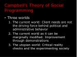 campbell s theory of social programming