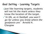 goal setting learning targets
