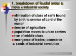 1 breakdown of feudal order move industrial society