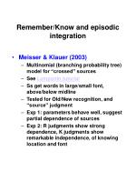 remember know and episodic integration