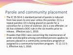 parole and community placement
