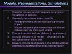 models representations simulations