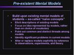 pre existent mental models