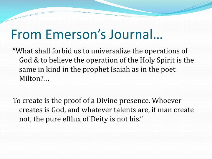 From Emerson's Journal…