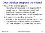 does auditor suspend the client