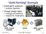gold farming example