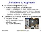 limitations to approach