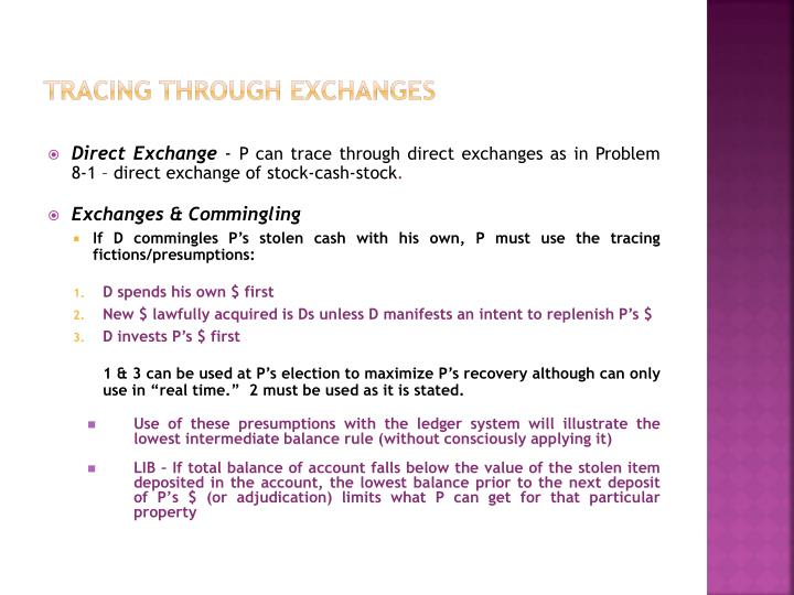 tracing through exchanges n.