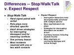 differences stop walk talk v expect respect