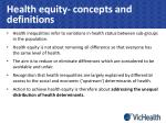 health equity concepts and definitions