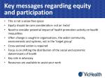 key messages regarding equity and participation