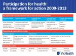 participation for health a framework for action 2009 2013