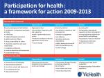 participation for health a framework for action 2009 20131