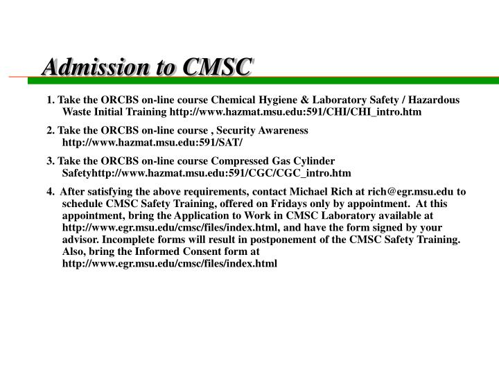 admission to cmsc n.