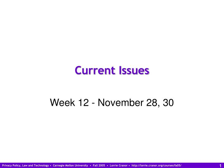 current issues n.