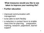 what measures would you like to see taken to improve your working life