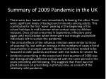 summary of 2009 pandemic in the uk