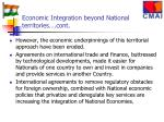 economic integration beyond national territories cont