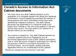 canada s access to information act cabinet documents