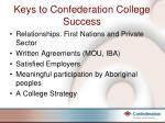 keys to confederation college success