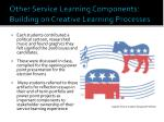 other service learning components building on creative learning processes