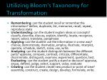 utilizing bloom s taxonomy for transformation