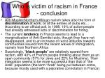 i who is victim of racism in france conclusion