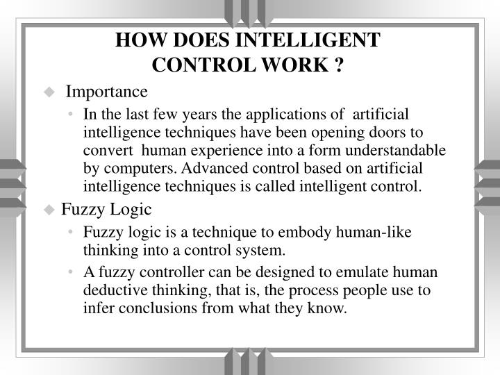 how does intelligent control work n.
