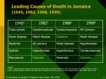 leading causes of death in jamaica 1945 1982 1998 1999