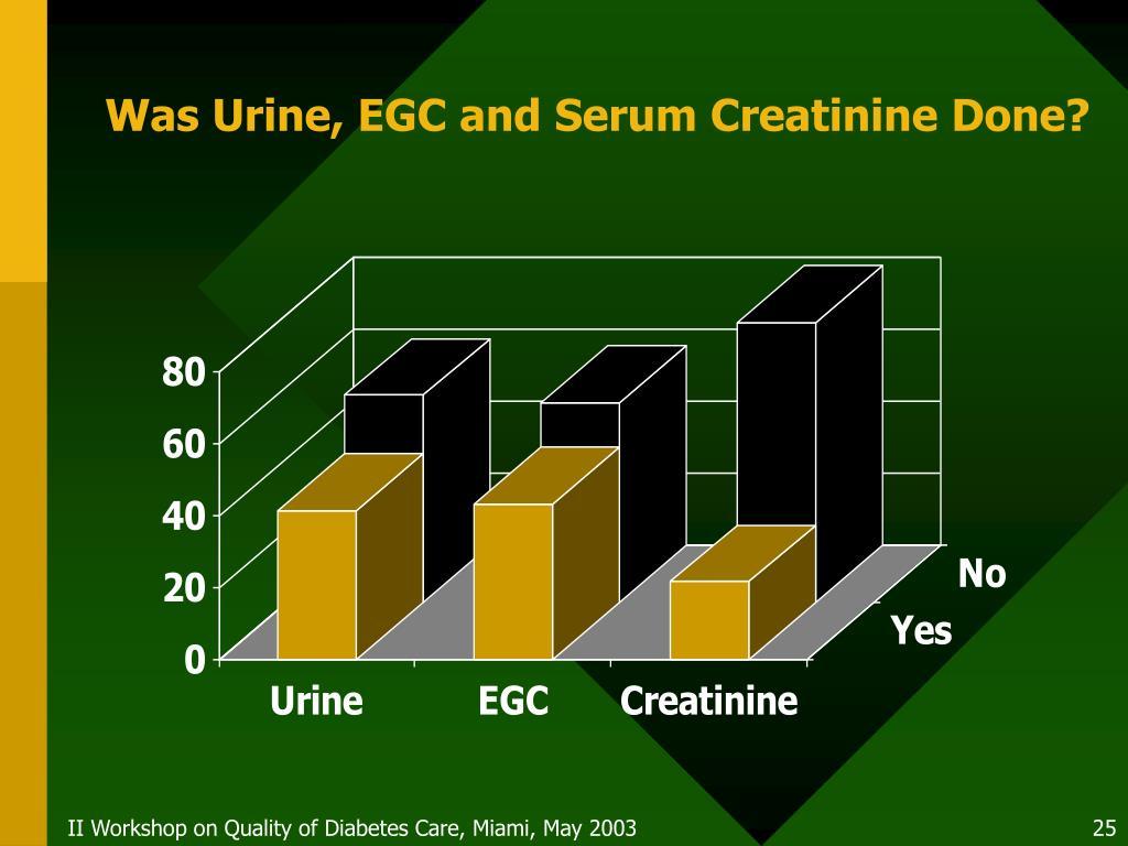 Was Urine, EGC and Serum Creatinine Done?