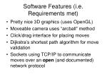 software features i e requirements met