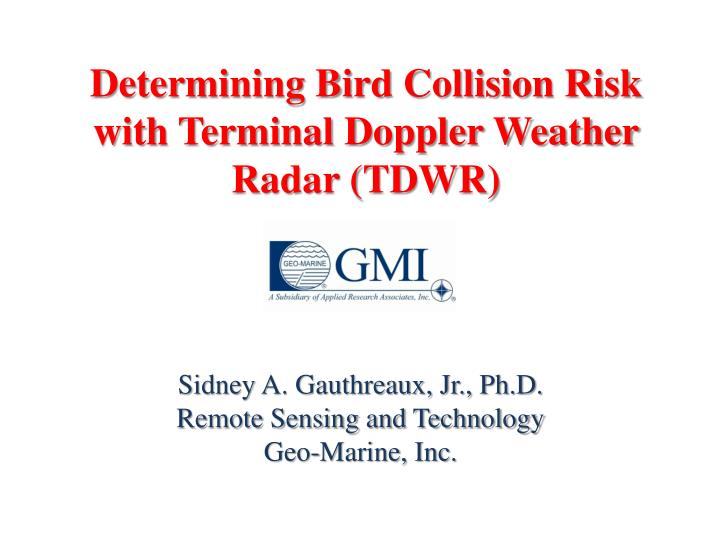 determining bird collision risk with terminal doppler weather radar tdwr n.