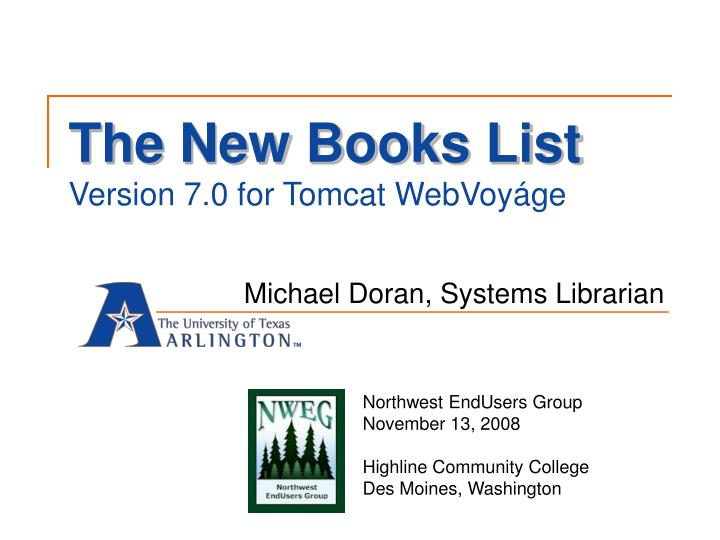 the new books list version 7 0 for tomcat webvoy ge n.