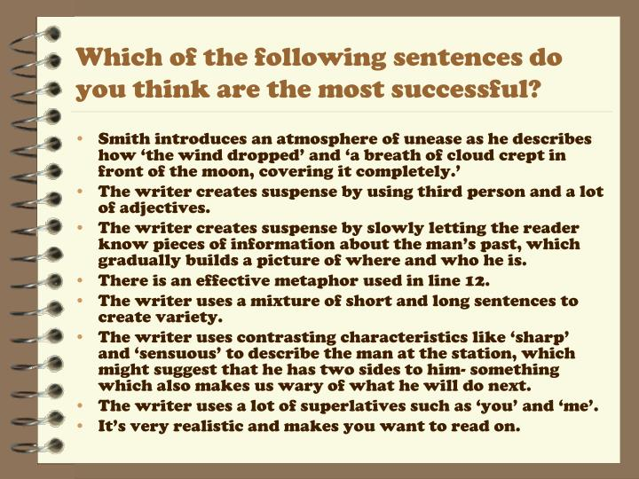 Which of the following sentences do you think are the most successful?